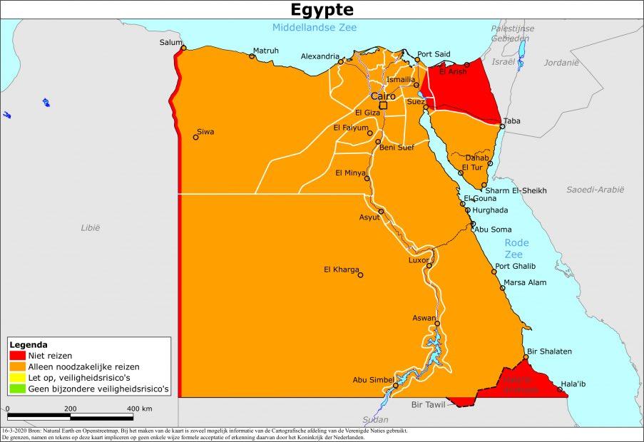 Reisadvies Egypte kaart Ministerie van Buitenlandse Zaken