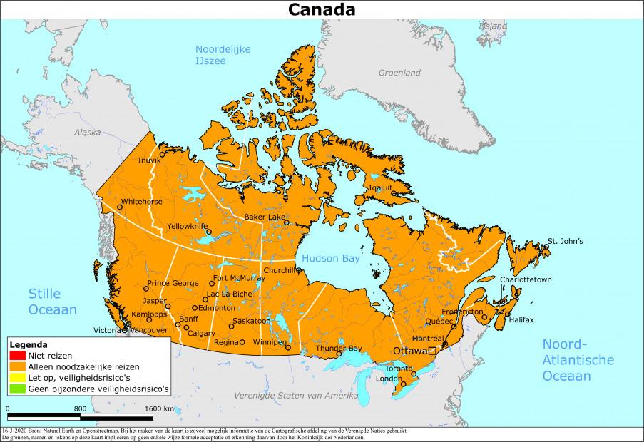 Reisadvies Canada - kaart van de Nederland Wereldwijd