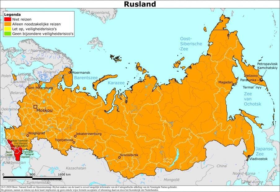 Reisadvies Rusland - kaart van het Ministerie van Buitenlandse Zaken