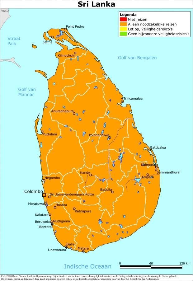 Reisadvies Sri Lanka - Kaart van Nederland Wereldwijd (Ministerie van Buitenlandse Zaken)
