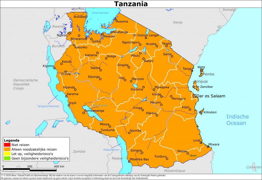 Kaart bij reisadvies Tanzania vanuit Nederland Wereldwijd