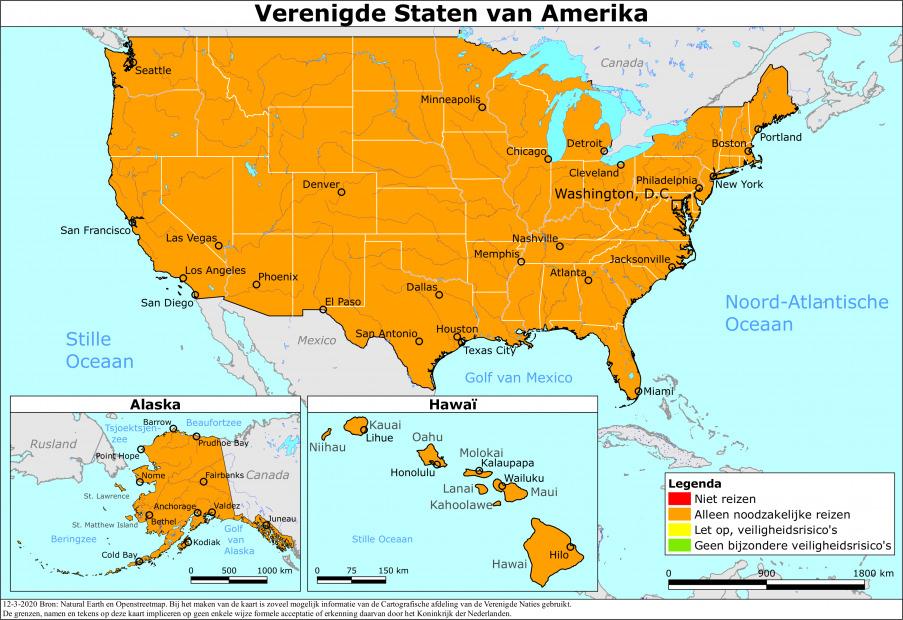 Reisadvies Verenigde Staten van Amerika - Nederland Wereldwijd (Ministerie van Buitenlandse Zaken)